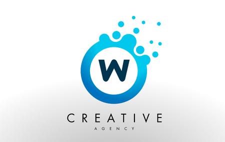 w Dots Letter Logo. Blue Bubble Design Vector Illustration. Illustration