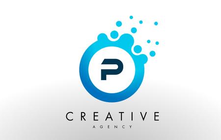 p Dots Letter Logo. Blue Bubble Design Vector Illustration.
