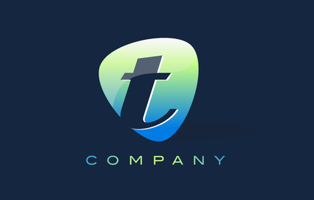 oval shape: t Letter Logo. Oval Shape Modern Design with Glossy Look. Stock Photo