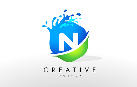 water: N Letter Logo. Blue Green Splash Design Vector with Water Drops.