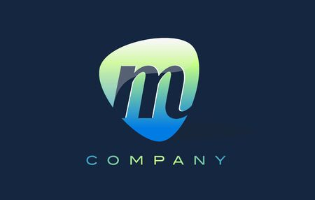 oval shape: m Letter Logo. Oval Shape Modern Design with Glossy Look. Stock Photo