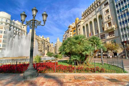 Valencia, Spain City Center with Plaza del Ayuntamiento Architecture.