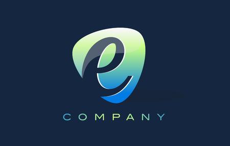 oval shape: e Letter Logo. Oval Shape Modern Design with Glossy Look.