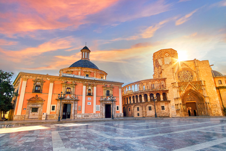 Valencia Spain Square of Saint Marys Architecture at Sunrise.