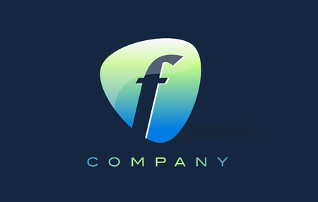 oval shape: f Letter Logo. Oval Shape Modern Design with Glossy Look.