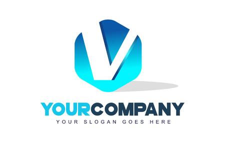 v shape: v Letter Logo. Modern Hexagon Logo Shape Design Vector.