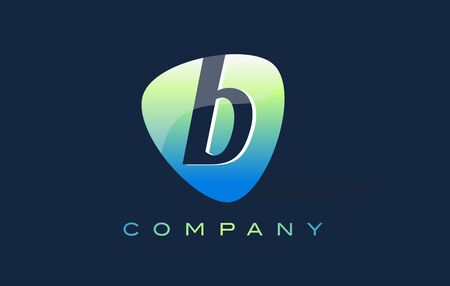 oval shape: b Letter Logo. Oval Shape Modern Design with Glossy Look. Stock Photo