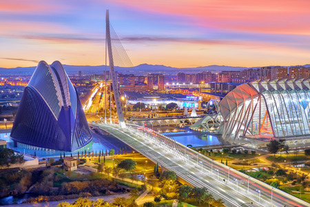 Valencia Aerial View. Modern City of arts and Sciences 스톡 콘텐츠