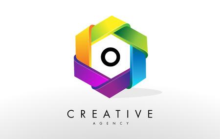 O Letter Logo. Corporate Hexagon Rainbow Design Vector Stock Photo