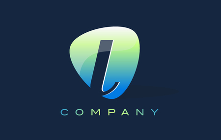oval shape: l Letter Logo. Oval Shape Modern Design with Glossy Look.