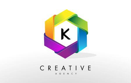 K Letter Logo. Corporate Hexagon Rainbow Design Vector