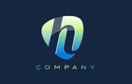 oval shape: h Letter Logo. Oval Shape Modern Design with Glossy Look. Stock Photo