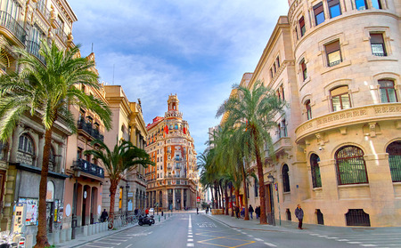 Street in Valencia Spain. Palm Trees in Spanish City of Valencia