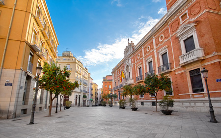valencia orange: Valencia Spain Architecture with Orange Trees Stock Photo