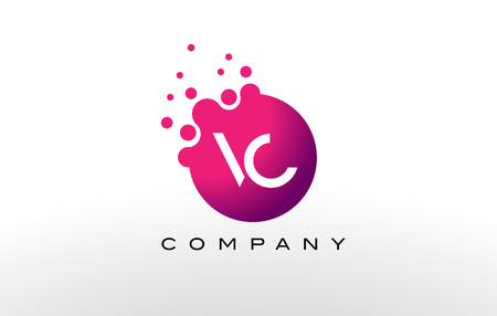 VC Letter Dots Logo Design with Creative Trendy Bubbles and Purple Magenta Colors.