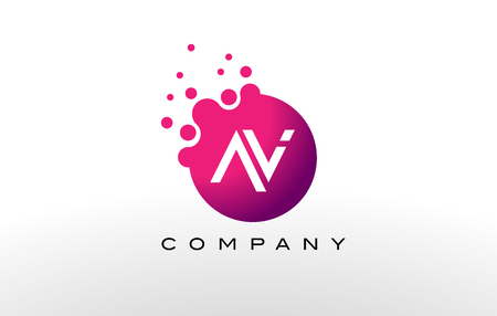 AV Letter Dots Logo Design with Creative Trendy Bubbles and Purple Magenta Colors. Illustration