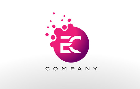 ec: EC Letter Dots Logo Design with Creative Trendy Bubbles and Purple Magenta Colors.