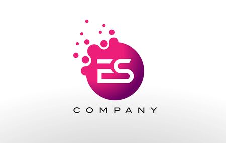 ES Letter Dots Logo Design with Creative Trendy Bubbles and Purple Magenta Colors. Logó