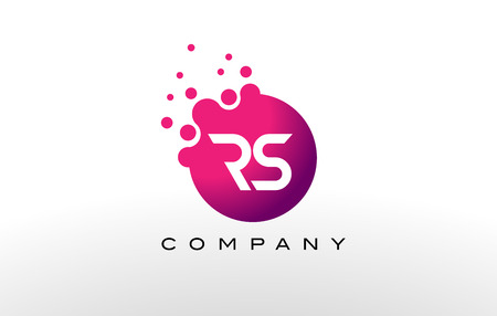 RS Letter Dots Logo Design with Creative Trendy Bubbles and Purple Magenta Colors. Logó