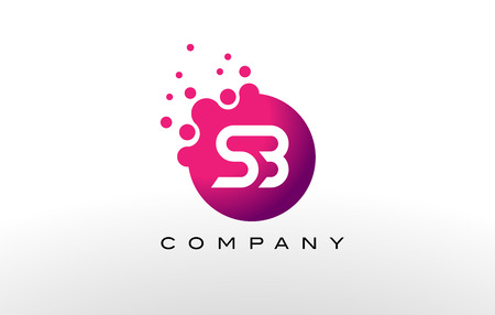 SB Letter Dots Logo Design with Creative Trendy Bubbles and Purple Magenta Colors.