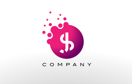 SJ Letter Dots Logo Design with Creative Trendy Bubbles and Purple Magenta Colors.