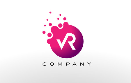 VR Letter Dots Logo Design with Creative Trendy Bubbles and Purple Magenta Colors.