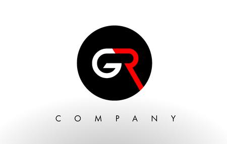 gr: GR Logo.  Letter Design Vector with Red and Black Colors.