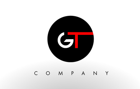 gt: GT Logo.  Letter Design Vector with Red and Black Colors. Illustration