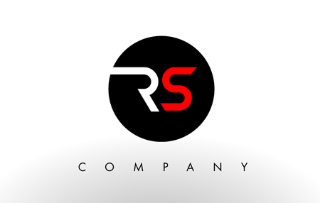 RS Logo. Letter Design Vector with Red and Black Colors.