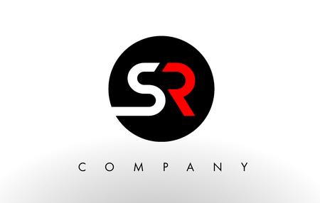 SR Logo. Letter Design Vector with Red and Black Colors. Logó