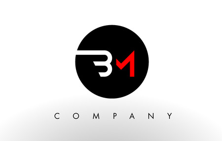 BM Logo.  Letter Design Vector with Red and Black Colors. Ilustração