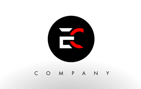 ec: EC Logo.  Letter Design Vector with Red and Black Colors.