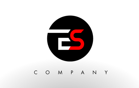 vector es: ES Logo. Letter Design Vector with Red and Black Colors. Illustration