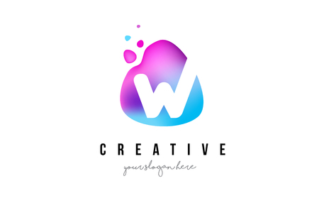 W Letter Dots Logo Design with Oval Purple Shape Vector Illustration.