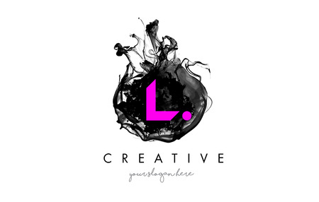 L Letter Logo Design with Ink Cloud Flowing Texture and Purple Colors.