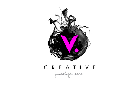 V Letter Logo Design with Ink Cloud Flowing Texture and Purple Colors. Illustration