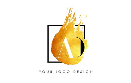 d offer: AD Gold Letter Brush Logo. Golden Painted Watercolor Background with Square Frame Vector Illustration.