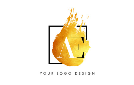 AE Gold Letter Brush Logo. Golden Painted Watercolor Background with Square Frame Vector Illustration.
