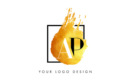 ap: AP Gold Letter Brush Logo. Golden Painted Watercolor Background with Square Frame Vector Illustration.