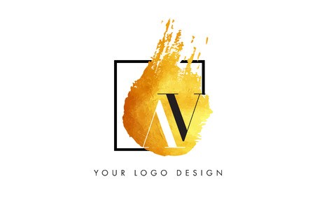 AV Gold Letter Brush Logo. Golden Painted Watercolor Background with Square Frame Vector Illustration.