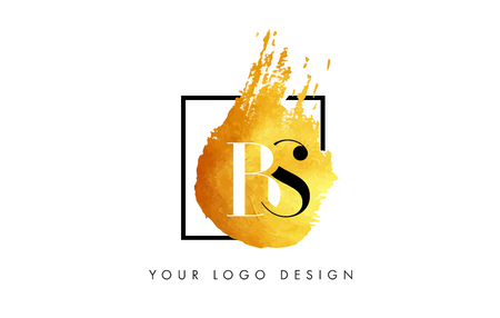PS Gold Letter Brush Logo. Golden Painted Watercolor Background with Square Frame Vector Illustration.