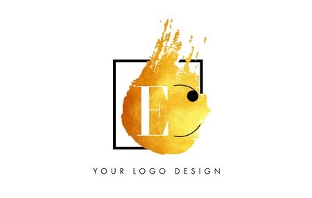 EC Gold Letter Brush Logo. Golden Painted Watercolor Background with Square Frame Vector Illustration.