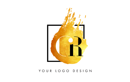 cr: CR Gold Letter Brush Logo. Golden Painted Watercolor Background with Square Frame Vector Illustration. Illustration