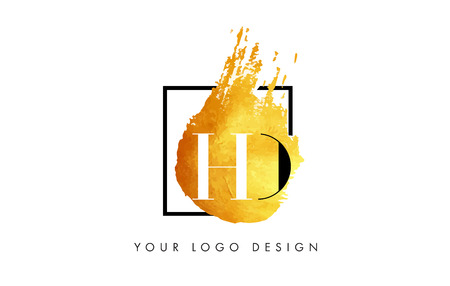 d offer: HD Gold Letter Brush Logo. Golden Painted Watercolor Background with Square Frame Vector Illustration.
