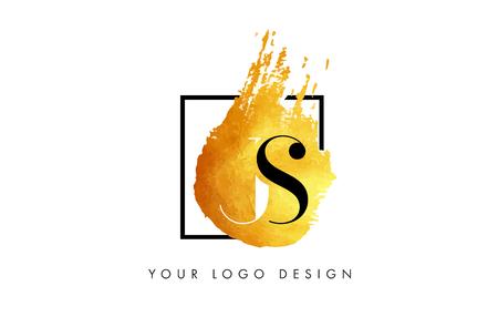 JS Gold Letter Brush Logo. Golden Painted Watercolor Background with Square Frame Vector Illustration.