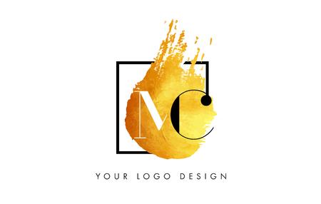 MC Gold Letter Brush Logo. Golden Painted Watercolor Background with Square Frame Vector Illustration. Illustration