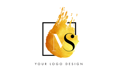 MS Gold Letter Brush Logo. Golden Painted Watercolor Background with Square Frame Vector Illustration.