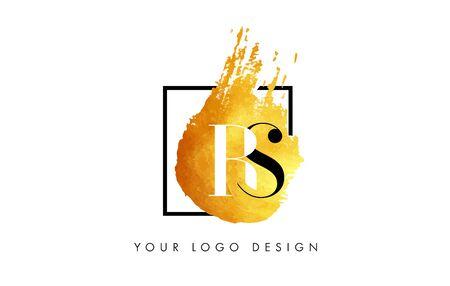 RS Gold Letter Brush Logo Logó