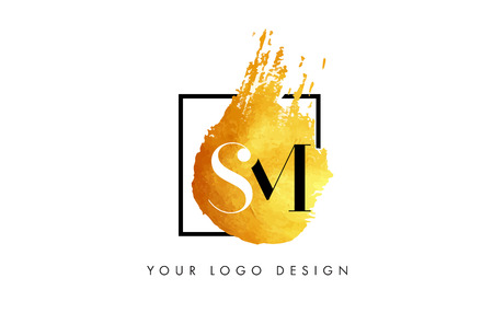 SM Gold Letter Brush Logo. Golden Painted Watercolor Background with Square Frame Vector Illustration. Ilustrace