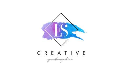 ES Watercolor Letter Brush Logo. Artistic Purple Stroke with Square Design.BC Watercolor Letter Brush Logo. Artistic Purple Stroke with Square Design. Logó